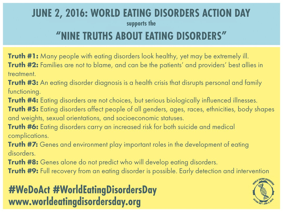 Have you read the Nine Truths About Eating Disorders yet? Learn more: https://t.co/34nPGAzjId #WeDoAct @WorldEDday https://t.co/eCoUVN9FBI