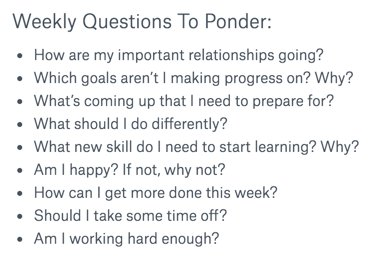 Each week I ask myself these questions which I collected over the years to ponder on : ) Super helpful, do recommend https://t.co/Fk5UbMoLnT