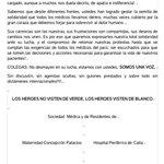 """""""Los héroes visten de blanco"""" Histórica carta de Sociedades Médicas de Caracas a médicos en huelga de hambre #Mérida https://t.co/7iWNIkEjBO"""