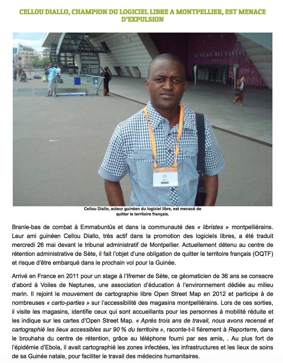 Cellou Diallo, Champion du Logiciel Libre à #Montpellier, est menacé d'expulsion https://t.co/ZVhyCVrbbk #PourCellou https://t.co/5WaieIK9ZL