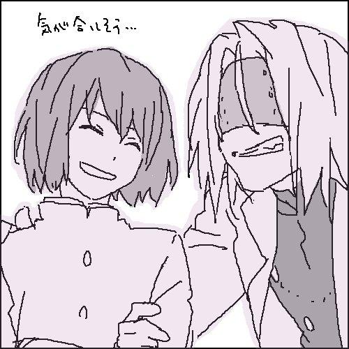 血界でなんで京騒戯画を連想するかっていうと監督さんが同じというのもあるし、石田さんと釘宮さんつながり。これ血界の時に描い