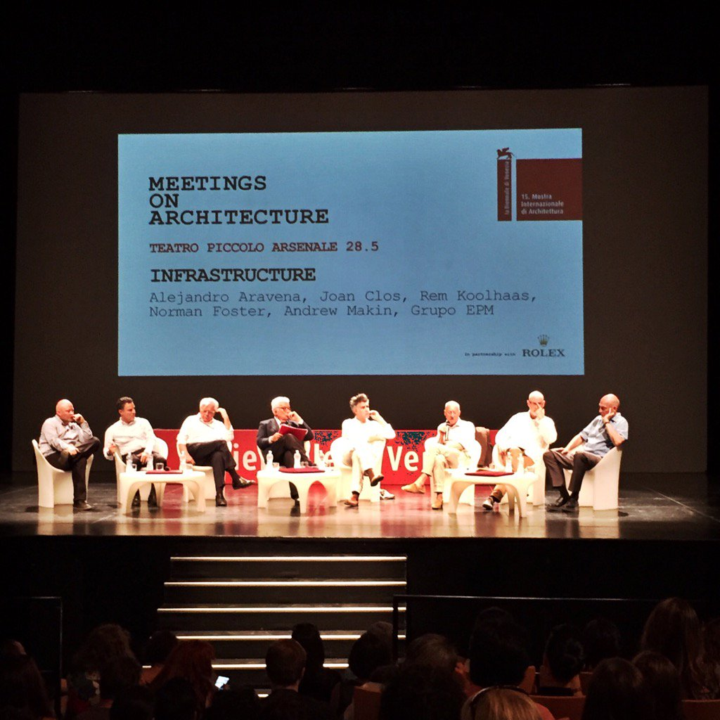 Aravena, Clos, Koolhaas, Forster, Makin, Grupo EPM. Infrastructure #BiennaleArchitettura2016 #MeetingsonArchitecture https://t.co/HzKJX7XDpP