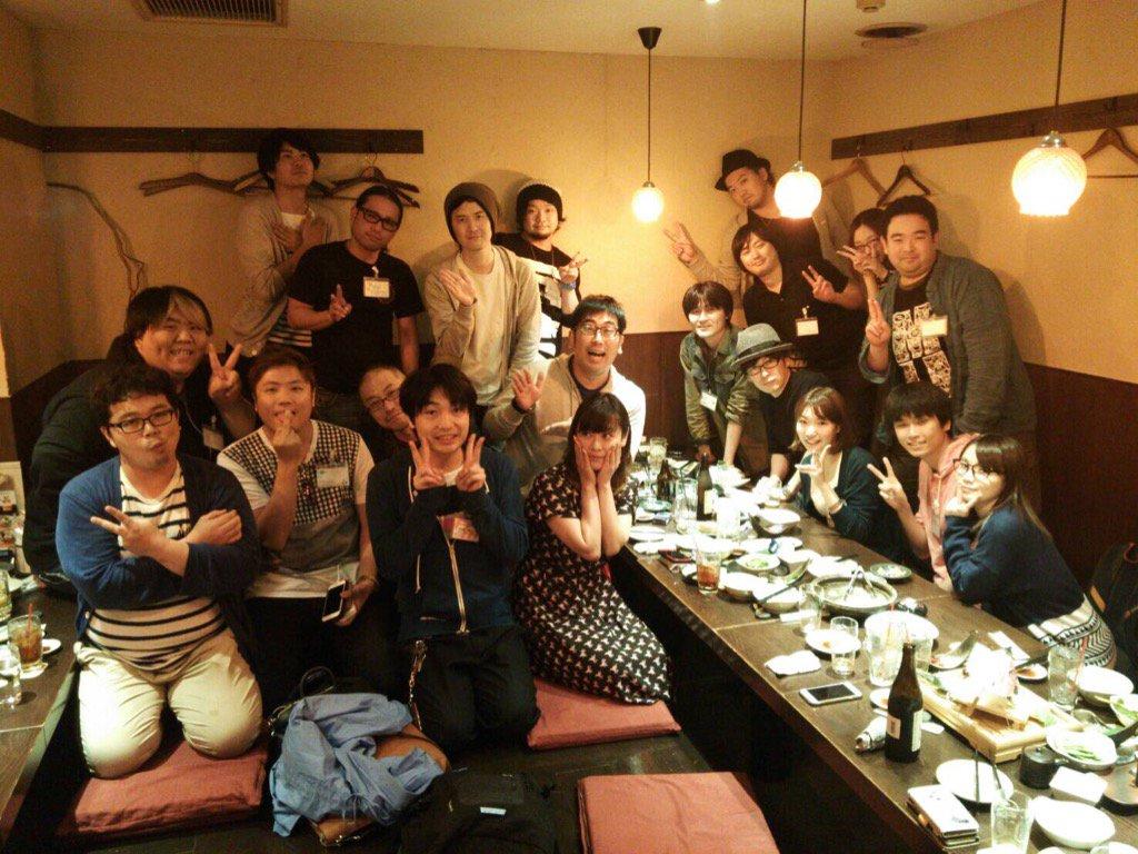 某日、アニラジ作家を集めて飲み会をやりました!全員で185番組だそうです!今、ここに何かあったら日本中のアニラジが被害をうけます! https://t.co/L0VHr7wtSe