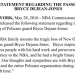 Commissioner Adam Silver released the following statement regarding the passing of Pelicans guard Bryce Dejean-Jones https://t.co/AwP1EqPwd4