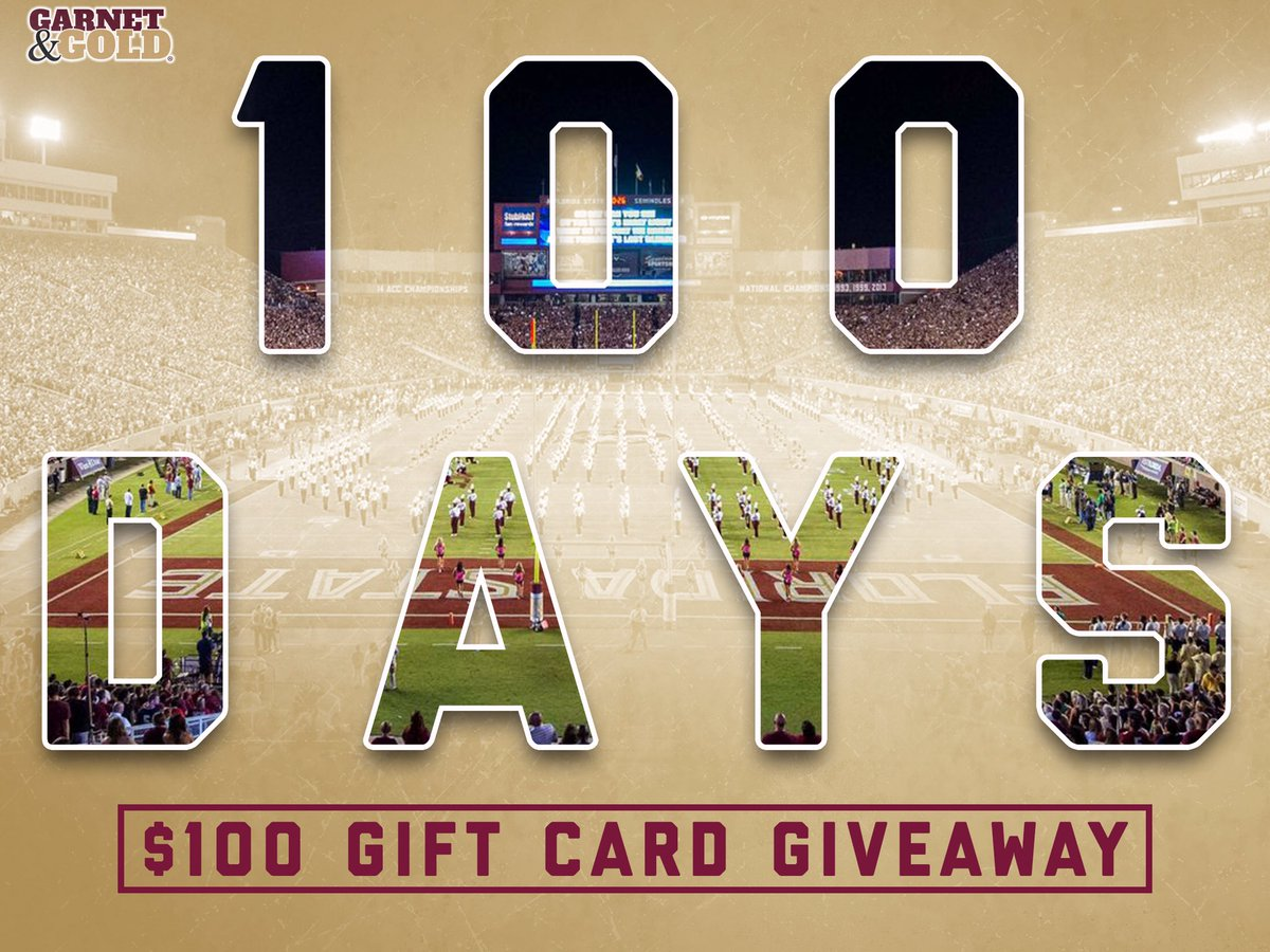 100 DAYS UNTIL KICKOFF!   To celebrate, FOLLOW and RETWEET for your chance to win a $100 Gift Card!
