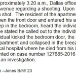 According to the DallasPD Bryce Dejean-Jones broke into someones home, kicked down bedroom door & was shot by owner. https://t.co/2db3M9EPdD