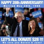 Happy 28th Anniversary to Jane and Bernie Sanders! Donate $28 for todays money bomb: https://t.co/e31NxS7q2p https://t.co/QAiauffUbe
