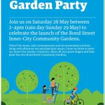 Head to Bond St today from 2-4pm to celebrate the new community garden with fun, music, activities,  & giveaways. https://t.co/eMpog4F433