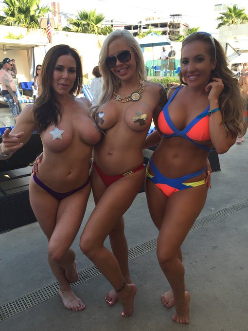 Too much fun today with these Sex kittens @KendraLust & @NinaElleXoXo at @SapphireDayClub ???? https://t