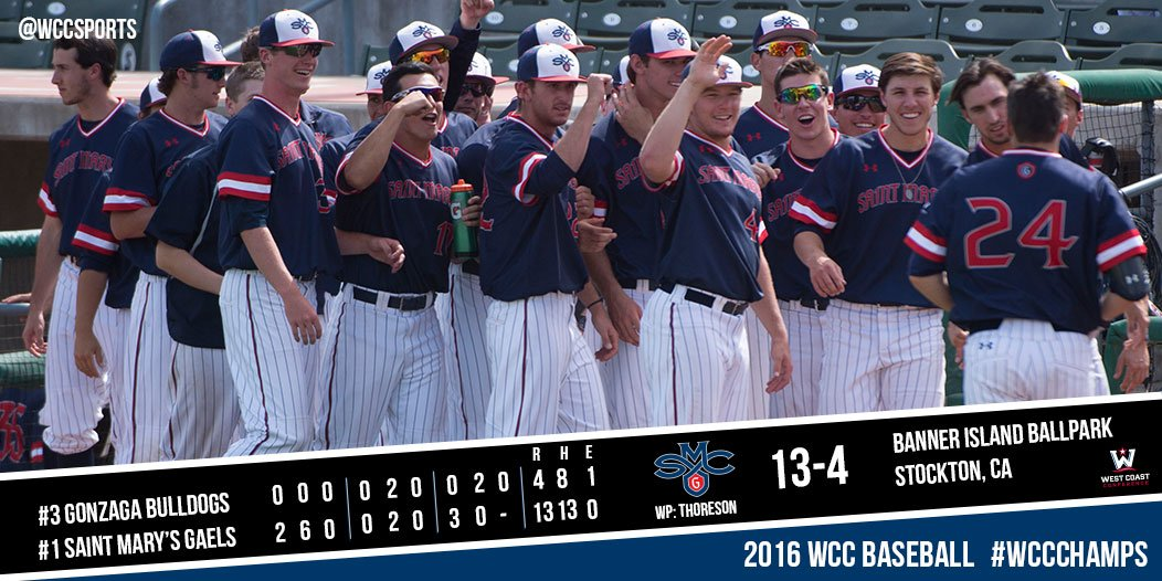 The @smcgaels are the 2016 ⚾️ #WCCchamps! Good luck to Head Coach Eric Valenzuela and the #Gaels on the #RoadToOmaha https://t.co/mbsM698AeB