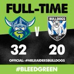 FULL TIME | Winners! How good was that Raiders fans?! #BleedGreen #NRLRaidersBulldogs https://t.co/7Oi3psx8yl