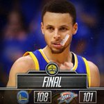 [FINAL] The Warriors defeat the Thunder, 108-101. Thompson: 41 Points, 4 Reb Curry: 31 Points, 10 Reb, 9 Ast https://t.co/MH4Emgg24X