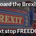 All aboard the #Brexit train, tell everyone you know. Leaving the EU & entering the world. https://t.co/fE6UhzIHVj