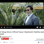 New record: Telugu #Kabali Teaser is the first dubbed Teaser in India which crossed 3M views! #KabaliNo1IndianTeaser https://t.co/i4nGJLeV9P