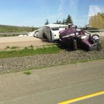 A section of Highway 104 outside New Glasgow is closed after a tractor trailer overturned. PHOTO: Denis Doucet https://t.co/kGY7K4NGoq