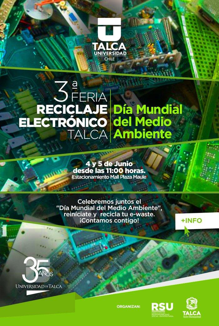 El próximo fin de semana se estará realizando la 3ra Feria de #Reciclaje Electrónico en #Talca. ¡Participa! https://t.co/TBY74GWVsk