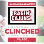 SUN BELT CHAMPIONS!  Louisiana-Lafayette back on the #RoadToOmaha with an AQ! https://t.co/L93K0W8hS4