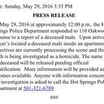 .@HotSpringsPD is investigating a homicide #ARnews https://t.co/C6ikJFP8dh