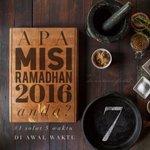 Apa misi Ramadhan kalian? Misi #1 : Solat penuh 5 waktu di awal waktu. 7 hari berbaki. Moga kita terus bermotivasi. https://t.co/WAxkNHxSuU