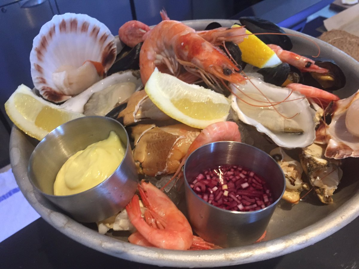 A seafood platter at our new seafood bar in our fish shop in Padstow https://t.co/XyHMewCsmM