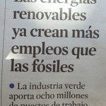 En portada de @LaVanguardia: Las energías renovables ya crean más empleo que las fósiles. https://t.co/YWvqppdyYe