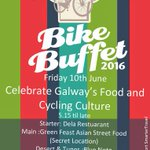 Galway Bike Buffet Fri 10 June. Starter @Delagalway 17:15, main @Greenfeasting al fresco, dessert @BlueNoteGalway. https://t.co/uoMmEdgpwH