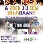 Morgenavond 19.30 - 21.00 banenmarkt jongeren 16-27 jaar @CultuurgebouwHM @JIPinfo @haarlemmermeer @MeerWaardeInfo https://t.co/meInof9hiG