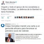 Querido Felipe González: Que sepas que los socialistas estamos orgullosos de ti. Fdo.: Pedro Sánchez https://t.co/UNlSlDbG0L