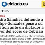 Sánchez defiende q Felipe Gonzalez mande cartas con afecto a un dictador genocida hablando de Venezuela! Acojonante. https://t.co/DlaSghSLPn