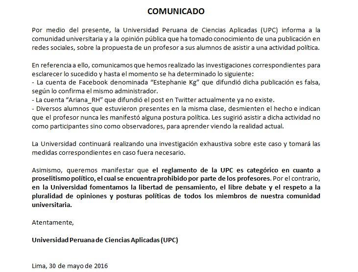 Comunicado de la Universidad Peruana de Ciencias Aplicadas (UPC) a la comunidad universitaria y la opinión pública. https://t.co/unkIkakFIr