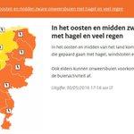 KNMI-code oranje: #Limburg en #Brabant horen blijkbaar tot het oosten/midden v.h. land https://t.co/guBwUVzH9k #L1 https://t.co/B8snM1324R