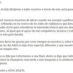 El mensaje de @Juanfrantorres a la afición del Atletico. Siempre uno de los nuestros. SIEMPRE orgulloso de ti. https://t.co/JTwVR3jZEB