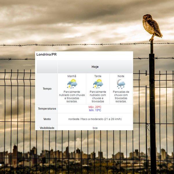 A segunda continuará nublada com chuvas e trovoadas isoladas. Máx. de 20ºC e a mín. de 15ºC. Fonte: Simepar. https://t.co/DPNRuPkQRN