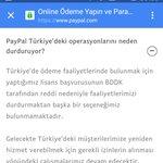 BDDK PayPala lisans vermemiş. PayPal operasyonları durdurmuş. en sağlam global ödeme platformuna lisans vermemek. https://t.co/lAUKc3oQ6K