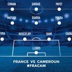 Le onze de départ de lEquipe de France face au Cameroun. #CôtéFoot #FRACAM ???????? https://t.co/9uKgORCVx9