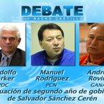 #EstaNoche Evaluación 2do. año gobierno: R. Paker @PDC_OFICIAL; M. Rodríguez @PCN_Oficial y A. Rovira @GANAOFICIAL https://t.co/C6JR5j8JcJ