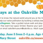 This P.A. Day, visit the Museum and make a solitary bee house & go on a nature walk with our friends @Oakvillegreen https://t.co/kUYLkDltAP