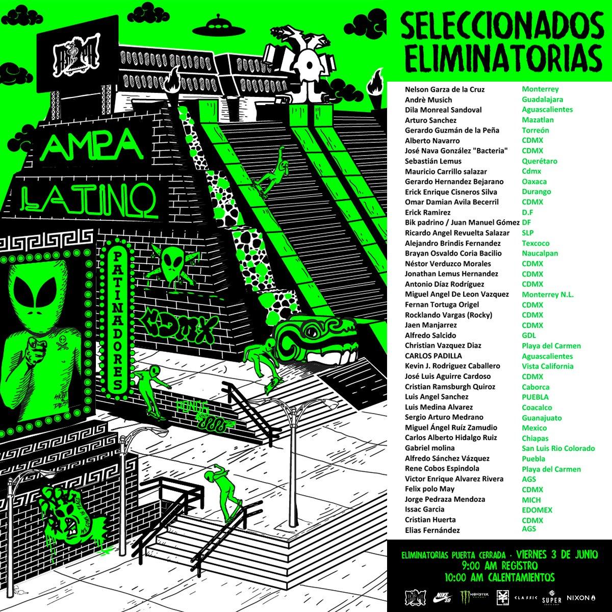 Estos son los seleccionados para las eliminatorias del #AmpaLatino @NikeSBMexico @classic_caps  @NixonMX @dropin_mx https://t.co/yGKFwgPLP1