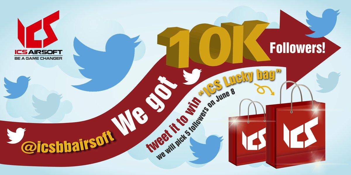 We got 10K followers!! Tweet it to win the #ICS #luckybag. We will pick 5 winners on June 8, 2016. #icsbbairsoft https://t.co/QwNHEOz01t