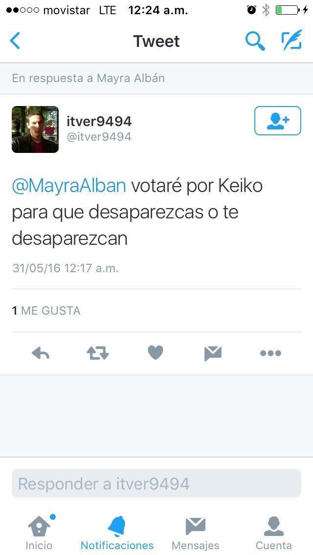Así amenazan los fujimoristas a la periodista que denunció la manipulación de los #ChlimperAudios https://t.co/KeClvxvJeX