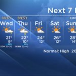 7 DAY: A bit of mid-week instability followed by clearing skies and warming trends. High 20s by the weekend. #yegwx https://t.co/ikDqZylzdg