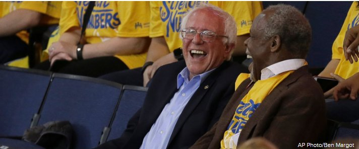 Basketball Buddies: Sanders and actor Danny Glover catch Game 7 of NBA Playoffs together