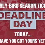 Its Deadline Day! The last chance to buy your season ticket at a discounted rate! Ticket office open 10am-7pm. https://t.co/WBul3Cs4sA
