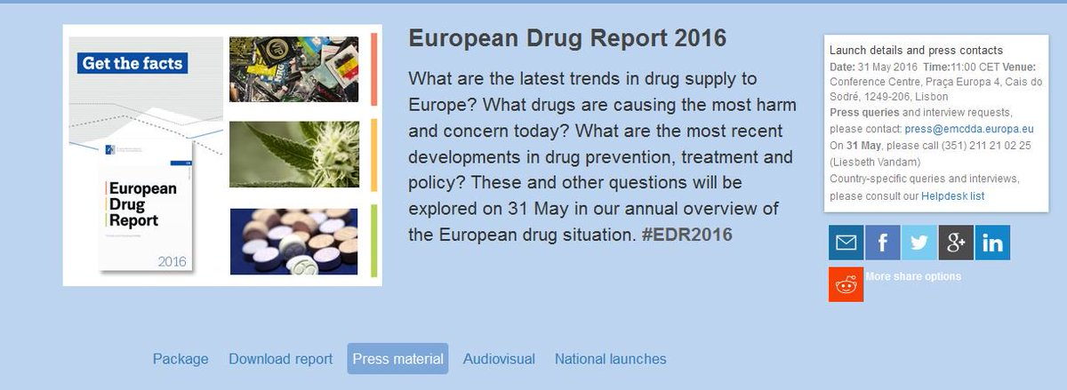 The 2016 European Drug Report is now available for download #EDR2016: https://t.co/NQ7u2UeAgw https://t.co/R31mdQKgRo