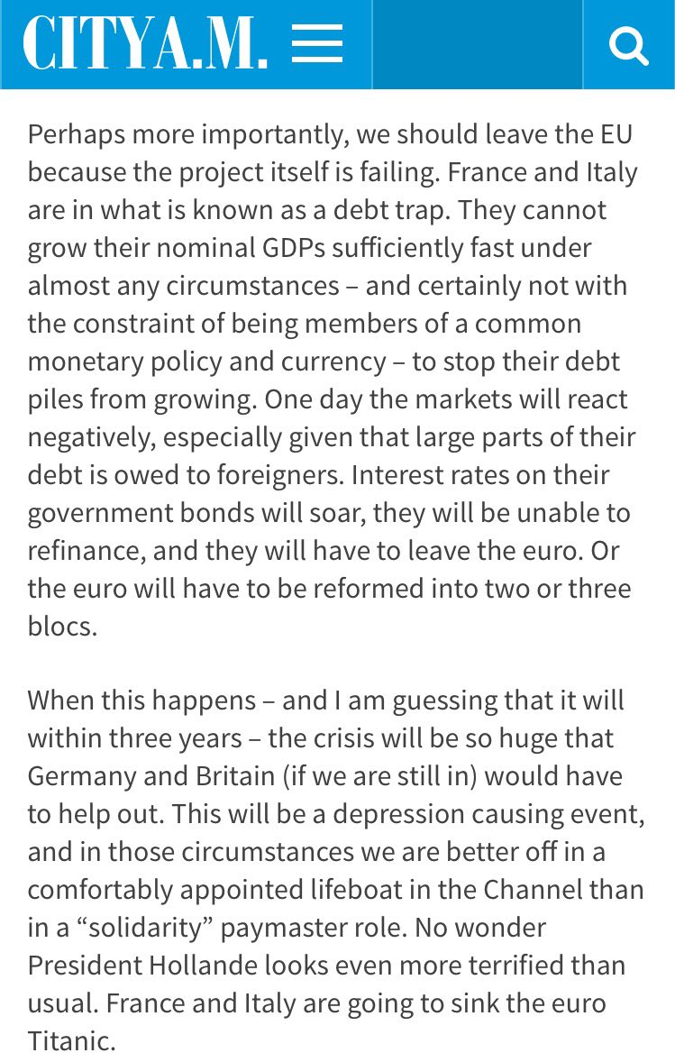 The debt trap - France and Italy, the Euro and #Brexit - explained by Jim Mellon for @CityAM https://t.co/UgTcsi4020