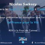 RECTIFICATION : la dédicace par @NicolasSarkozy de #LaFrancePourLaVie à Cannes est avancée à 15h au lieu de 16h ! https://t.co/jEYvh9AZnm
