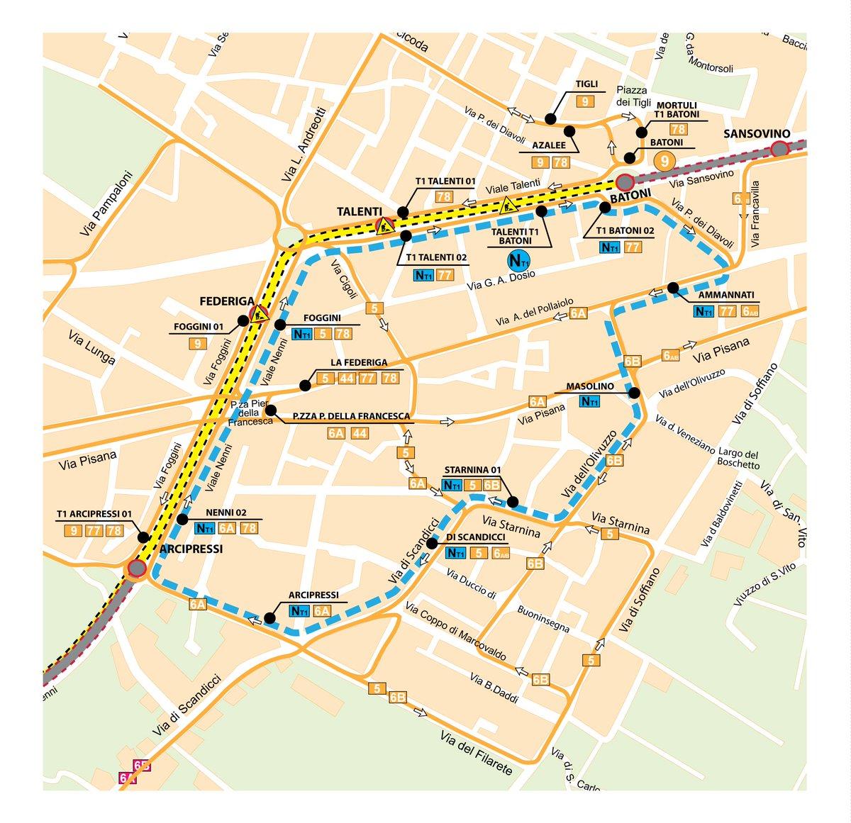 "RT @TramviaGEST: #Murofoggini: Dal 13 giugno tra ARCIPRESSI e BATONI attivati bus sostitutivi: 77, 78, 9 e NT1. La mappa di Ataf... https:/…<a target=""_blank"" href=""https://t.co/6OTiJ7GCxT""><br><b>Vai a Twitter<b></a>"