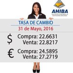 TASA DE CAMBIO 31 Mayo 2016: DÓLARES Compra L22.6631, Venta L22.8217 EUROS Compra L24.5895, Venta L27.2719 #Honduras https://t.co/xjJhcGQ1ve