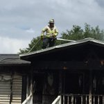 Fireman sprays water onto roof of home still smoking after flames destroy it. @ABCNews4 #chsnews #sctweets https://t.co/34NZgMVWXr