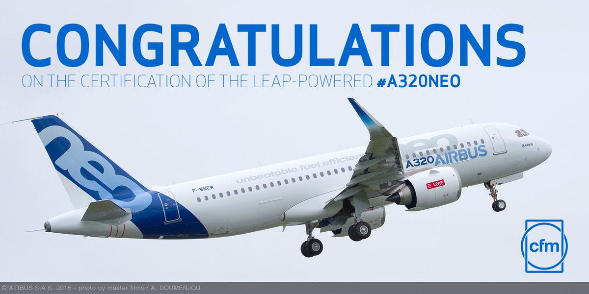 """""""Today marks another great milestone in the long relationship between CFM, @Airbus"""" https://t.co/54hGr5QIvb #A320neo https://t.co/vQMmL71qlA"""